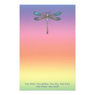 Rainbow Dragonfly Personalized Stationery