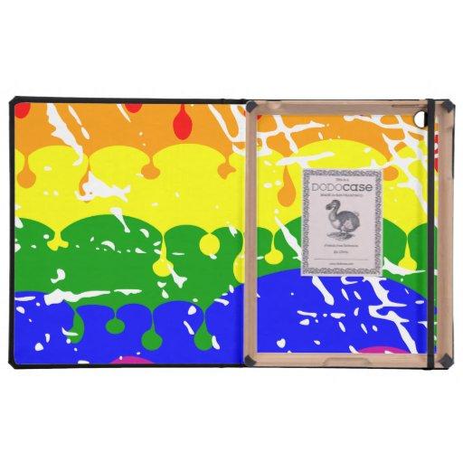 Rainbow Dripping Paint Distressed iPad Case