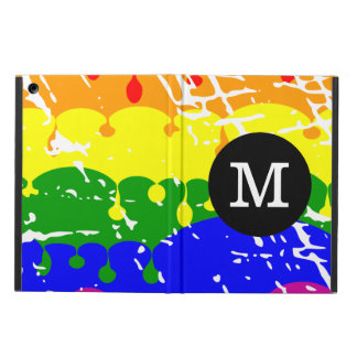 Rainbow Dripping Paint Distressed Monogram Cover For iPad Air