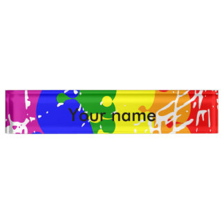 Rainbow Dripping Paint Distressed Name Plate