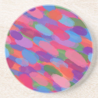 Rainbow Droplets Colorful Abstract Pattern Coaster