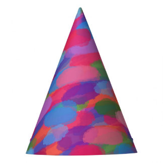 Rainbow Droplets Colorful Abstract Pattern Party Hat