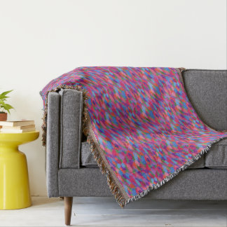 Rainbow Droplets Colorful Abstract Pattern Throw Blanket