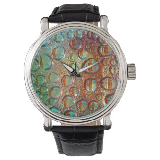 Rainbow Drops Watch Vintage Leather Strap Black