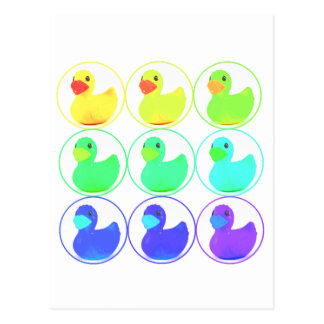Rainbow Duckies Pattern Design Postcard