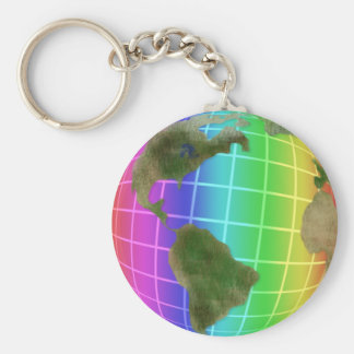 Rainbow Earth Day Globe Basic Round Button Key Ring