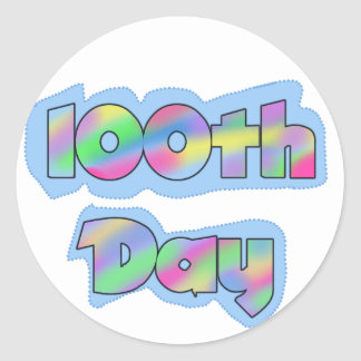 Rainbow Effect 100th Day of School Tshirts Round Stickers