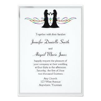 Rainbow Elegance Gay Brides Wedding Invitation