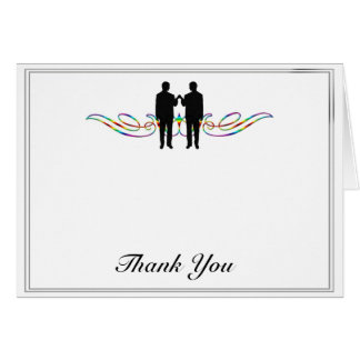 Rainbow Elegance Groom Wedding Thank You Card