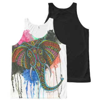 Rainbow Elephant All-Over Print Tank Top