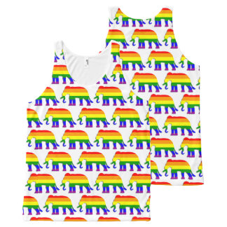 Rainbow elephant pattern All-Over print singlet