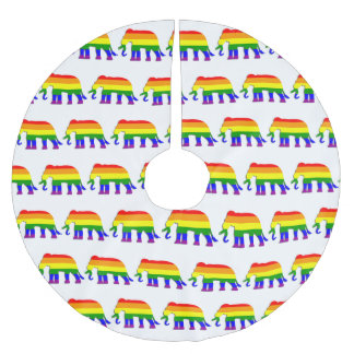 Rainbow elephant pattern brushed polyester tree skirt