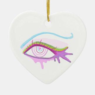Rainbow Eye Ceramic Heart Decoration