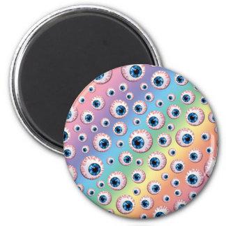 Rainbow eyeball pattern magnets