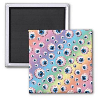 Rainbow eyeball pattern refrigerator magnet