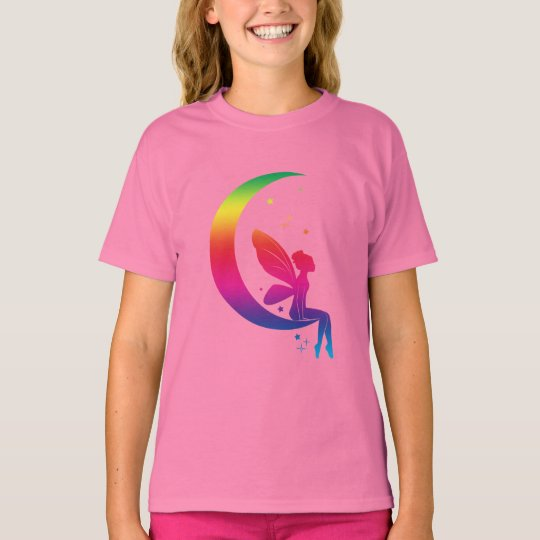 Rainbow Fairy Sitting on the Moon Among the Stars T-Shirt