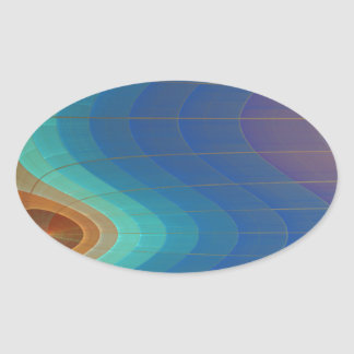 Rainbow Falls Abstract Art Oval Sticker