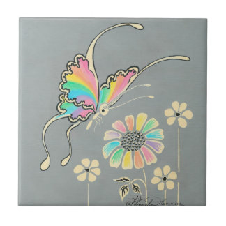 Rainbow Fantasy Butterfly Small Square Tile