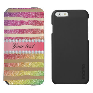 Rainbow Faux Glitter Stripes Diamonds Gold Incipio Watson™ iPhone 6 Wallet Case