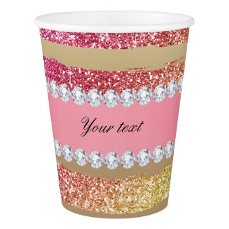Rainbow Faux Glitter Stripes Diamonds Gold Paper Cup