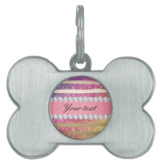 Rainbow Faux Glitter Stripes Diamonds Gold Pet ID Tag