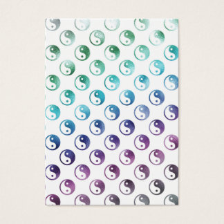 Rainbow Faux Metallic Yin Yang Taoism Balance Tao Business Card