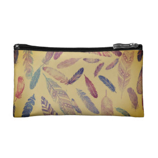 Rainbow Feather Cosmetic Bag