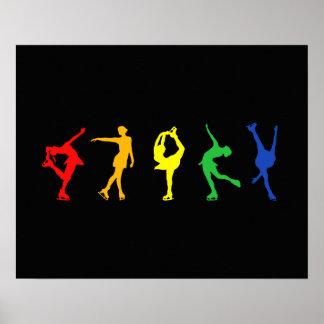 Rainbow Figure Skaters Poster