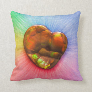 Rainbow Fire Agate with Heart Shape Cushion