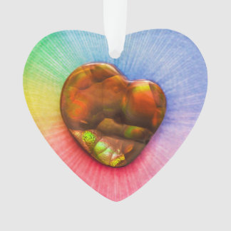 Rainbow Fire Agate with Heart Shape Decoration