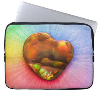 Rainbow Fire Agate with Heart Shape Laptop Sleeve
