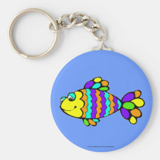 Rainbow Fish Basic Round Button Key Ring
