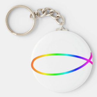 Rainbow Fish Basic Round Button Key Ring