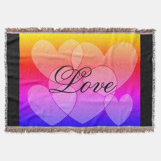 Rainbow Five Hearts: Love SDL Throw Blanket