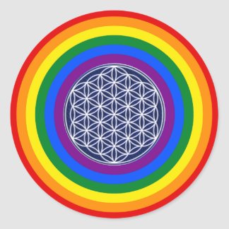 RAINBOW FLAG BUTTON + FLOWER OF LIFE CLASSIC ROUND STICKER