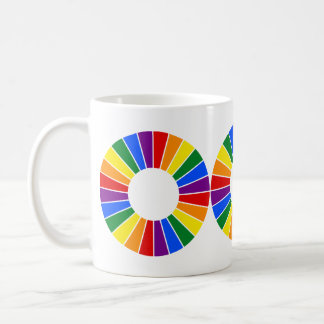 RAINBOW FLAG BUTTON RAYS + your sign or monogram Mugs