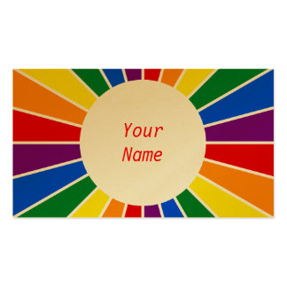 RAINBOW FLAG BUTTON RAYS + your sign or text Business Card