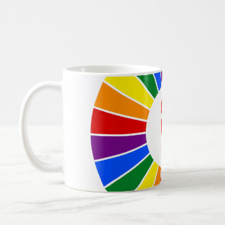 RAINBOW FLAG BUTTON RAYS + your sign or text Coffee Mugs