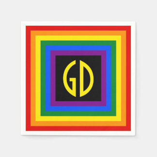 RAINBOW FLAG BUTTON SQUARE + your sign or text Paper Napkins