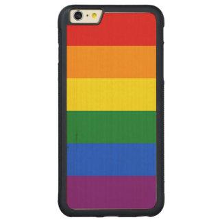 Rainbow Flag Carved Maple iPhone 6 Plus Bumper Case