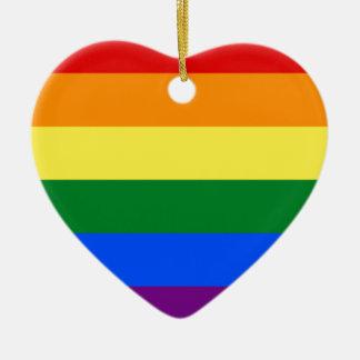 Rainbow Flag Ceramic Heart Decoration