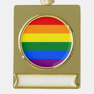Rainbow Flag Gold Plated Banner Ornament