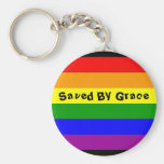 rainbow flag, Saved By Grace Basic Round Button Key Ring