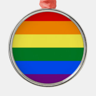 Rainbow Flag Silver-Colored Round Decoration