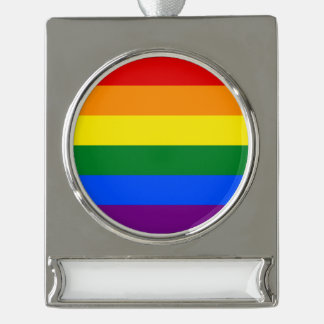 Rainbow Flag Silver Plated Banner Ornament