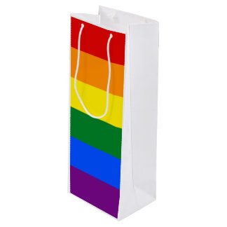 Rainbow Flag Wine Gift Bag