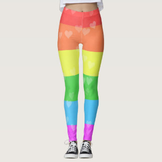 Rainbow Flag With Hearts LGBT Pride Leggings