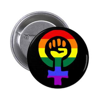 Rainbow Flag Woman Power button 2 Inch Round Button