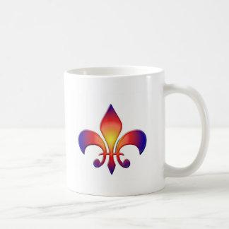 Rainbow Fleur de Lis Basic White Mug