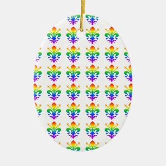 Rainbow Fleur-de-lis Ceramic Oval Decoration